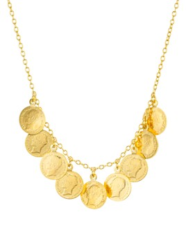 Argento Vivo - Antique-Style Coin Necklace in 14K Gold-Plated Sterling Silver, 16""