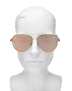 Quay - Women's Quay x Jaclyn Hill Roxanne Studded Aviator Sunglasses, 51mm