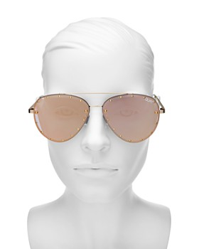 Quay - Women's Quay x Jaclyn Hill Roxanne Studded Aviator Sunglasses, 51mm