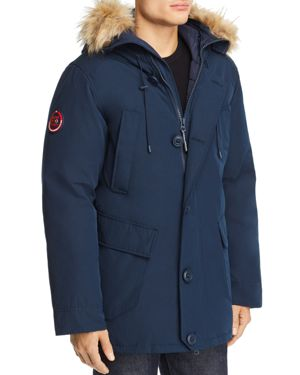 SUPERDRY Rookie Faux Fur-Trimmed Puffer Parka in Deep Navy