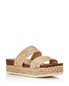 AQUA - Women's Kimbo Raffia Platform Slip-On Sandals