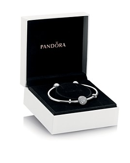 Pandora - Sterling Silver & Cubic Zirconia Wintry Holiday Bangle & Charm Gift Set, Moments Collection