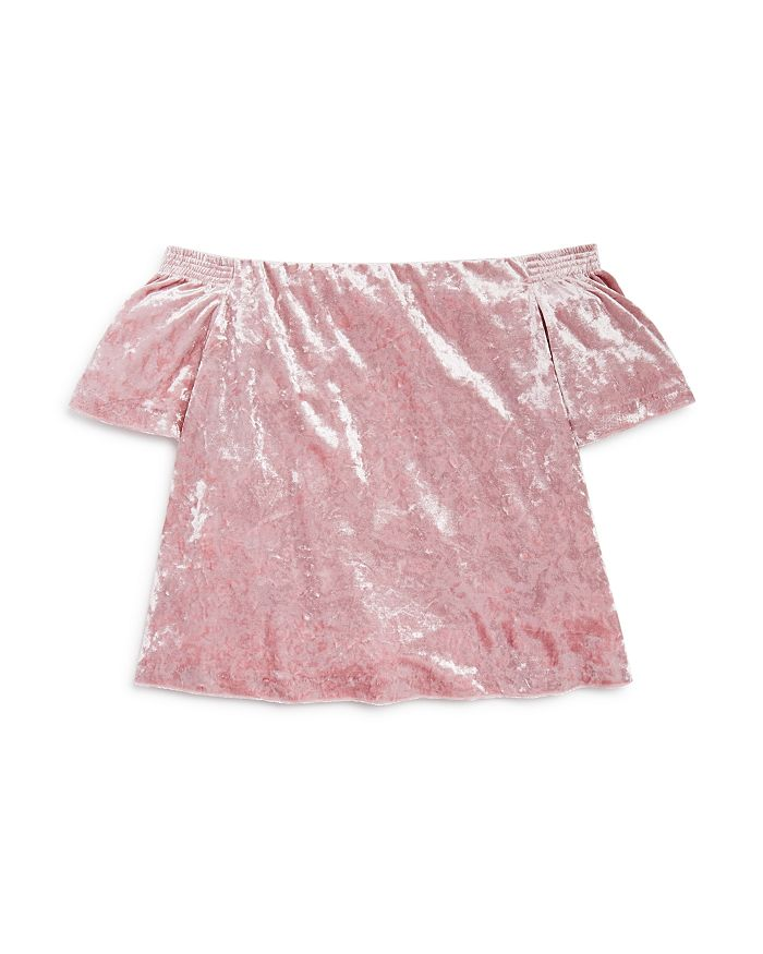 d23357949b0a23 AQUA - Girls  Crushed Velvet Off-the-Shoulder Top
