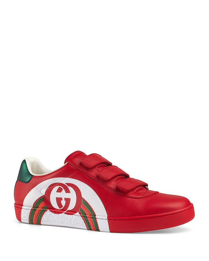 6f171f6f324 Gucci Women s Leather Sneakers with Interlocking G Rainbow Print ...