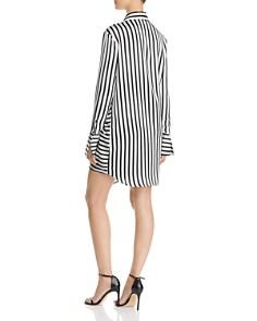 AQUA - Tie-Front Striped Shirt Dress - 100% Exclusive
