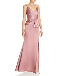 Adrianna Papell - Faux-Wrap Satin Gown