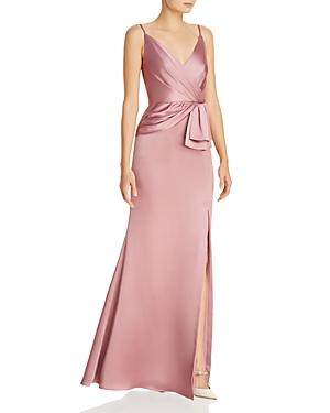 Vintage Dresses Australia- 1920s, 30s, 40s, 50s, 60s Styles Adrianna Papell Faux-Wrap Satin Gown AUD 208.16 AT vintagedancer.com