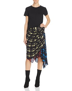 Preen Line - Halu Mixed Grid Print Midi Skirt