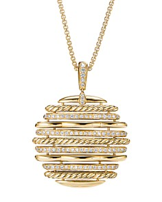 David Yurman - Tides Pendant Necklace in 18K Yellow Gold with Diamonds, 36""