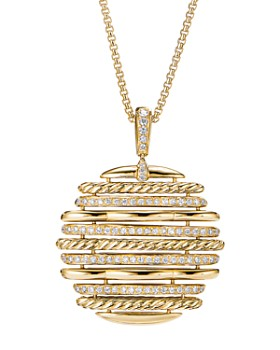 """David Yurman - Tides Pendant Necklace in 18K Yellow Gold with Diamonds, 36"""""""