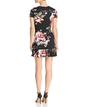 AQUA - Ruched Botanical Print Dress - 100% Exclusive