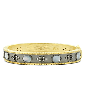 Freida Rothman Imperial Mother-of-Pearl Bangle Bracelet in Black Rhodium-Plated Sterling Silver & 14K Gold-Plated Sterling Silver