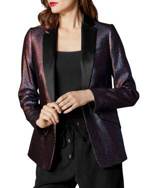 KAREN MILLEN Metallic Tailored Blazer in Dark Pink