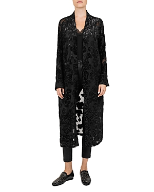 The Kooples BLACK MAGIC METALLIC DEVORE KIMONO