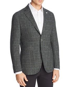L.B.M - Washed Cotton & Linen Plaid Slim Fit Sport Coat