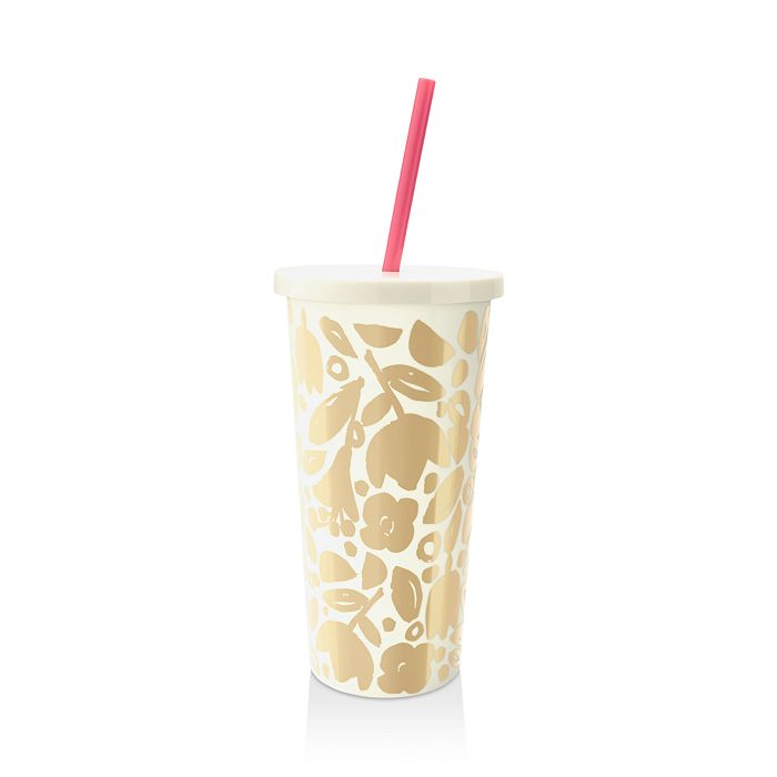 kate spade new york - Golden Floral Tumbler with Straw