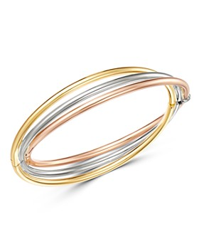 3727963be726 Bloomingdale s - 14K Yellow, White   Rose Gold Interlocked Bangle Bracelet  - 100% Exclusive ...