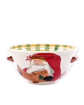 VIETRI - Old St. Nick Handled Medium Bowl with Santa Reading