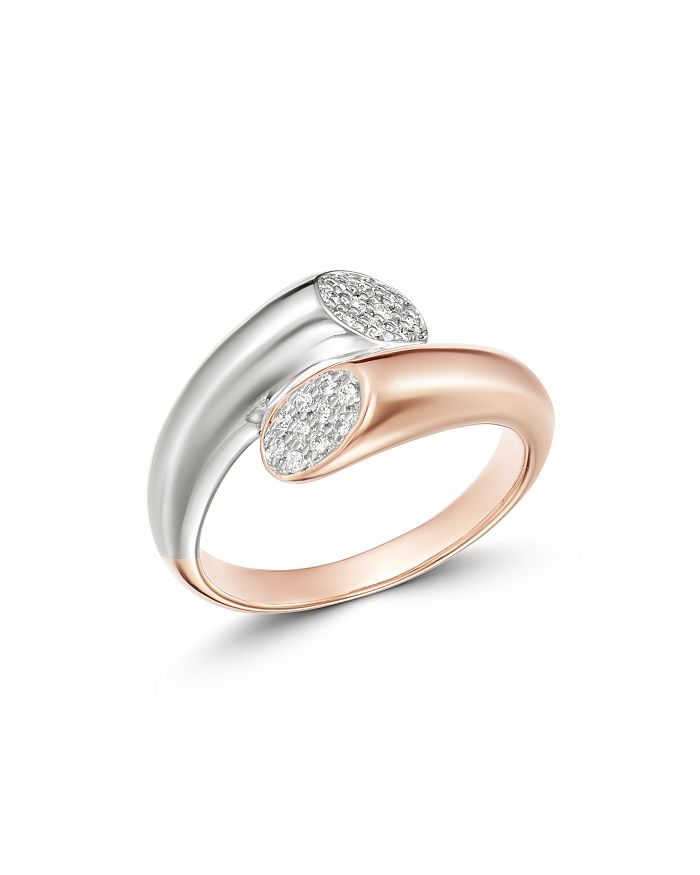 Bloomingdale's - Pavé Diamond Bypass Ring in 14K White & Rose Gold, 0.10 ct. t.w. - 100% Exclusive