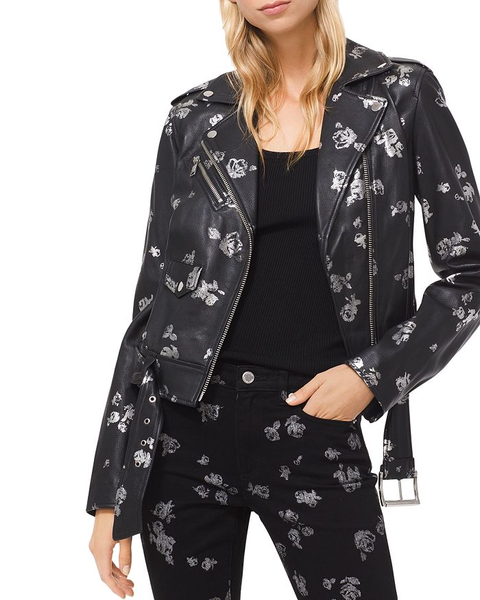 MICHAEL Michael Kors - Metallic Rose Print Leather Moto Jacket