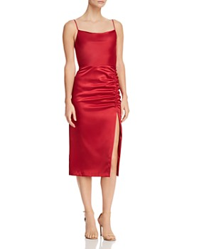 d54f29c9963 AQUA - Sleeveless Ruched Midi Dress - 100% Exclusive ...