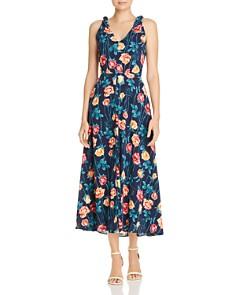 Betsey Johnson - Floral Print Shoulder-Tie Midi Dress