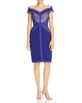 3efb4b9f519f2 Tadashi Shoji - Off-The-Shoulder Lace-Trimmed Sheath Dress ...