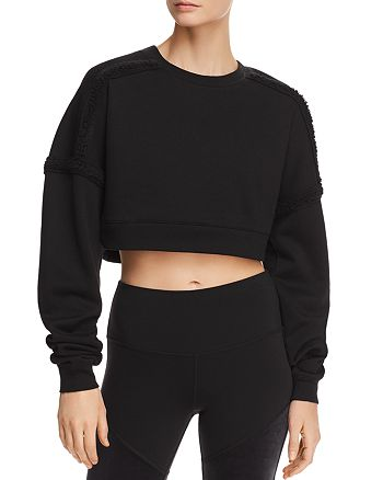 Alo Yoga - City Sherpa Fleece-Trim Cropped Sweatshirt