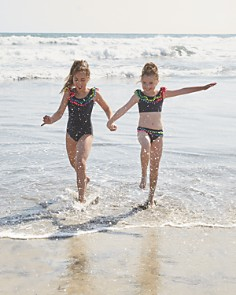 PilyQ - Girls' Ruffled Pom-Pom Swimsuit - Little Kid, Big Kid