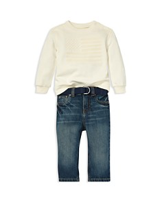 Ralph Lauren - Boys' French Terry Flag Sweatshirt, Jeans & Woven Belt Set - Baby
