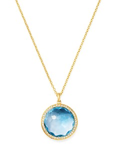 IPPOLITA - 18K Yellow Gold Lollipop Medium Pendant Necklace in Blue Topaz with Pavé Diamond, 18""