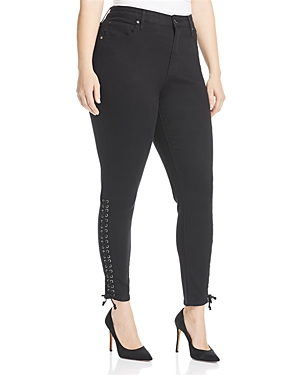 Seven7 Jeans Plus Lace-Up High Rise Skinny Jeans in Virtual