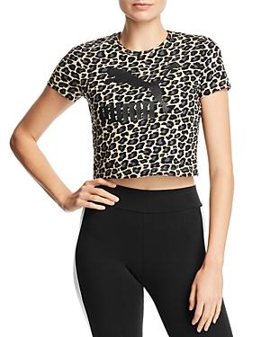 PUMA | Puma Wild Pack Cropped Leopard Logo Tee | Goxip