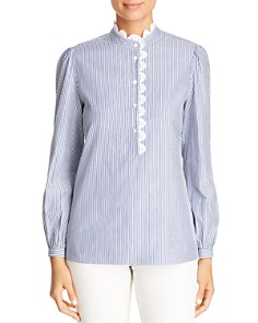 Tory Burch - Crochet-Trim Striped Top