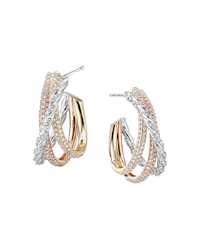 David Yurman - Paveflex Shrimp Earrings in 18K Gold with Diamonds