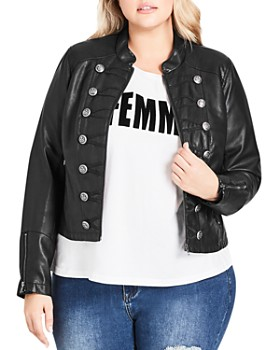 City Chic Plus - Faux Leather Military Jacket