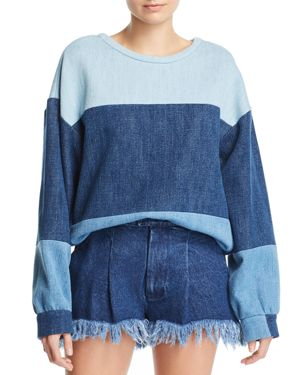 KSENIA SCHNAIDER Patchwork Denim Sweatshirt in Mixed Blue