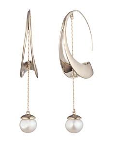 Carolee - Sculptural Cultured Freshwater Pearl Hoop Drop Earrings