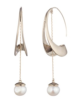 Carolee - Sculptural Cultured Freshwater Pearl Hoop Drop Earrings
