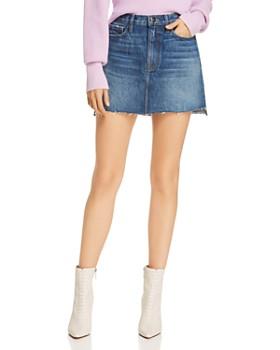 FRAME - Le Mini Raw-Edge Stagger Denim Skirt