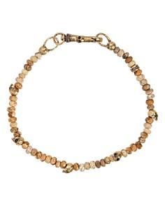John Varvatos Collection - Jasper Bead & Brass Skulls Bracelet