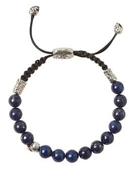 John Varvatos Collection - Sterling Silver Skull & Lapis Bead Adjustable Bracelet