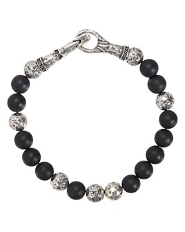 John Varvatos Collection - Sterling Silver & Onyx Bead Bracelet