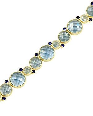 Freida Rothman Imperial Blue Soft Bracelet in 14K Gold-Plated Sterling Silver