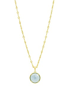 """Freida Rothman - Imperial Blue Single Stone Pendant Necklace in 14K Gold-Plated Sterling Silver, 16"""""""
