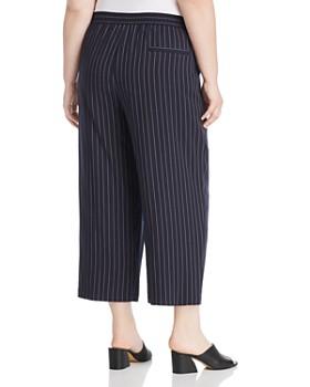 Eileen Fisher Plus - Pinstripe Cropped Wide-Leg Pants