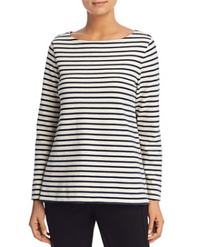 Eileen Fisher Petites - Striped Boat Neck Top