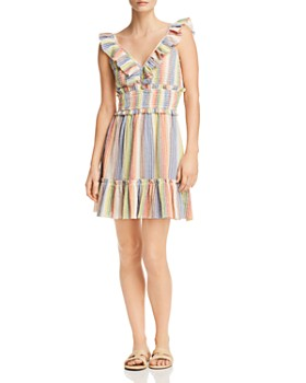 Saylor - Sleeveless Rainbow-Stripe Smocked Gauze Dress