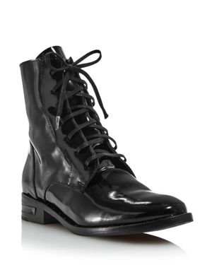 FREDA SALVADOR Women'S Patent-Leather Combat Boots in Black