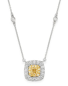 "Bloomingdale's - Cushion-Cut Yellow & White Diamond Pendant Necklace in 18K White & Yellow Gold, 18"" - 100% Exclusive"